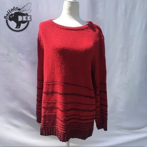 J Jill oversized red and black striped sweater M